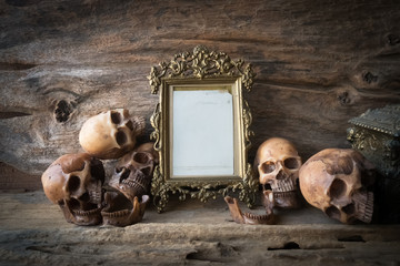 skull and frame , still life