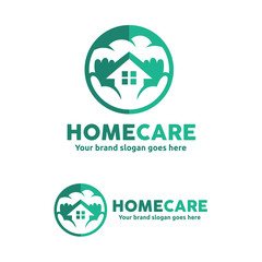 Home Care Logo, Home support Logo, Home and hands Sign