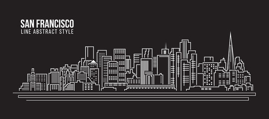 Cityscape Building Line art Vector Illustration design - san francisco city