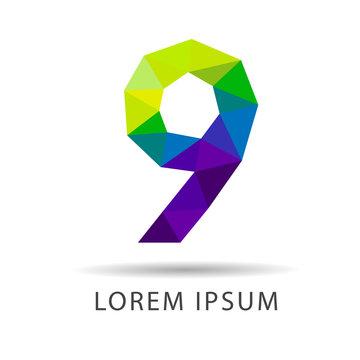 Number nine as design logo design geometric icons