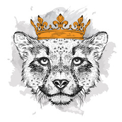 Photo sur Toile Croquis dessinés à la main des animaux Hand draw Image Portrait cheetah in the crown. Use for print, posters, t-shirts. Hand draw vector illustration