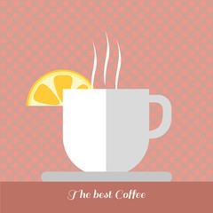 A white cup of coffee with steam and a slice of lemon on top with best coffee inscription, in outlines, over a red background with dots, digital vector image