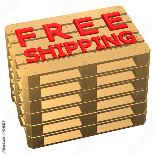 Wooden Pallets With Words Free Shipping Isolated On White