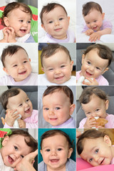 Collage of twelve photos of a smiling baby girl