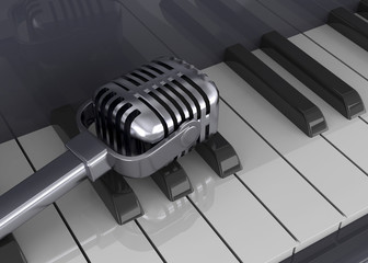 Piano and Microphone - 3D