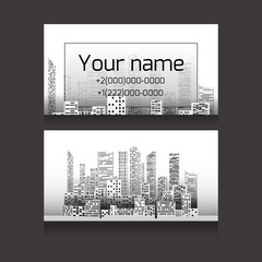 Template two-sided business card with skyscrapers and place for text. Business card for realtors, architects, builders