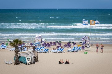 Beach in Israel, Israeli Mediterranean seaside stock photo. Bat Yam, Israel, May 2016.