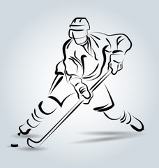Vector line sketch hockey player