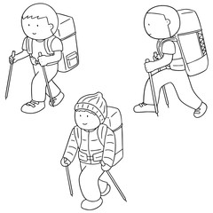 vector set of people with backpack