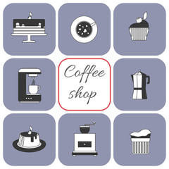 A set of coffee items, cup of coffee with steam, cake, glass, jug, jar, with coffee shop inscription, in outlines, over a white background, digital vector image