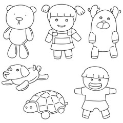 vector set of doll