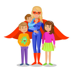 Cartoon superhero woman in red cape, mother superhero