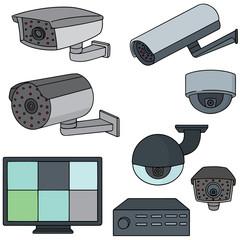 vector set of security camera
