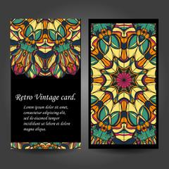 Set retro business card. Vector background. Card or invitation. Vintage decorative elements. Hand drawn. Islam, Arabic, Indian, ottoman motifs. EPS