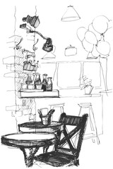 sketch of a vector table and chair in the interior of a cafe