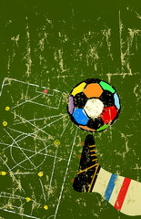 retro soccer o. football design template, great soccer event in france, copy space