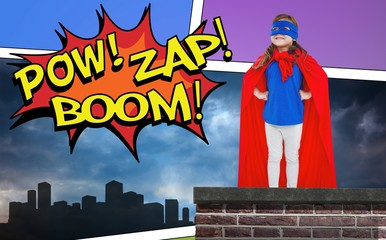 Composite image of masked girl pretending to be superhero