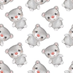 Forest small animals. Teddy bear watercolor seamless pattern 3