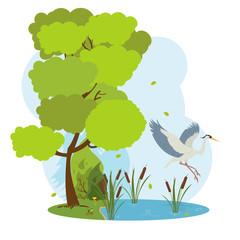 great heron flies over the pond.