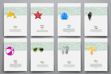 Corporate identity vector templates set with doodles sea theme