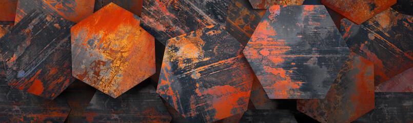 Rusty Metal Hexagon Tiles Background (Website Head) - 3D Rendering