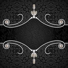 Black background with diamond jewelry border