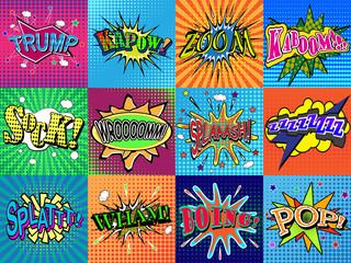 Boom! wording in comic speech bubble in pop art style on burst background