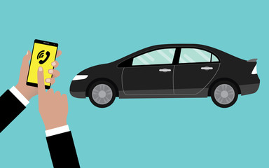 call or reserve online car service by using smartphone
