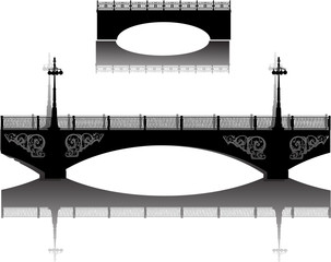 two black city bridges with reflections on white
