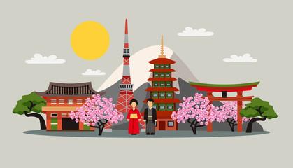 Japan Symbols Composition Flat Poster