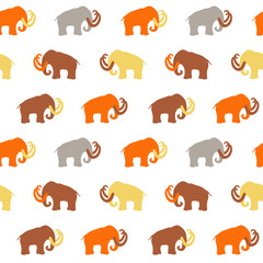 Seamless Pattern with Mammoth silhouettes