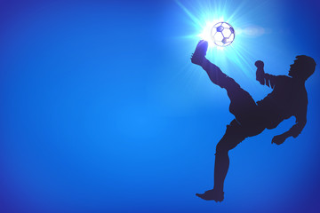 Silhouettes of footballers on the blue background