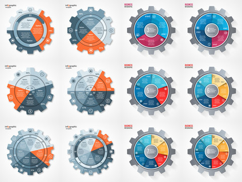 Vector business and industry gear style circle infographic set for graphs, charts, diagrams. Pie chart, cycle chart, round chart templates with 3, 4, 5, 6, 7, 8 options, parts, steps, processes.
