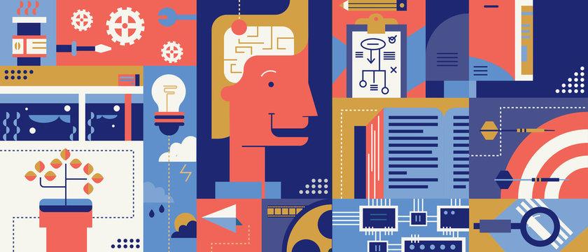 Creative brainstorm idea abstract background