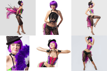 Burlesque. Collage of showgirl with purple hair