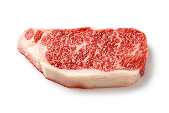 Wagyu striploin steak isolated on white