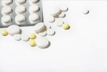 tablets on a white background top view.