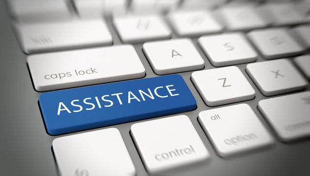 "Word ""ASSISTANCE"" on a key on a modern keyboard"