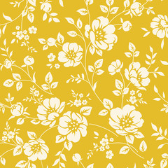 Seamless wallpaper with flowers. Two tone pattern