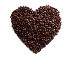 Heart Made of Coffee Beans, isolated on white