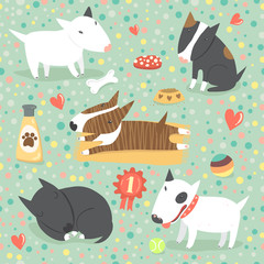 Seamless pattern with cute Bull Terriers in different colors and different dog stuff. Vector background.