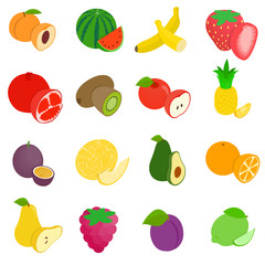 Fruit icons set, isometric 3d style
