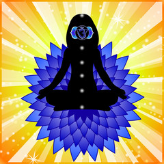 Meditating woman. Ajna chakra activation.