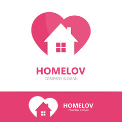 Vector logo combination of a heart and house