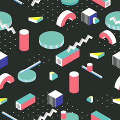 Postmodern 80s style seamless pattern. 3d isometric background.