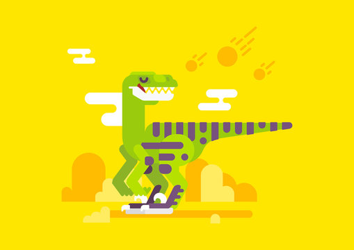 Velociraptor dinosaur with ancient landscape. Colorful fat character.