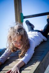 girl having fun on the slide