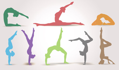 Yoga Positions. Silhouettes icons set. Vector illustration