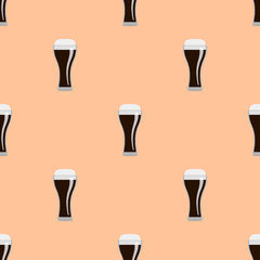 Glasses of dark beer seamless pattern