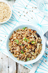 Lentils and rice with Crispy Onions and Parsley. Mujadara
